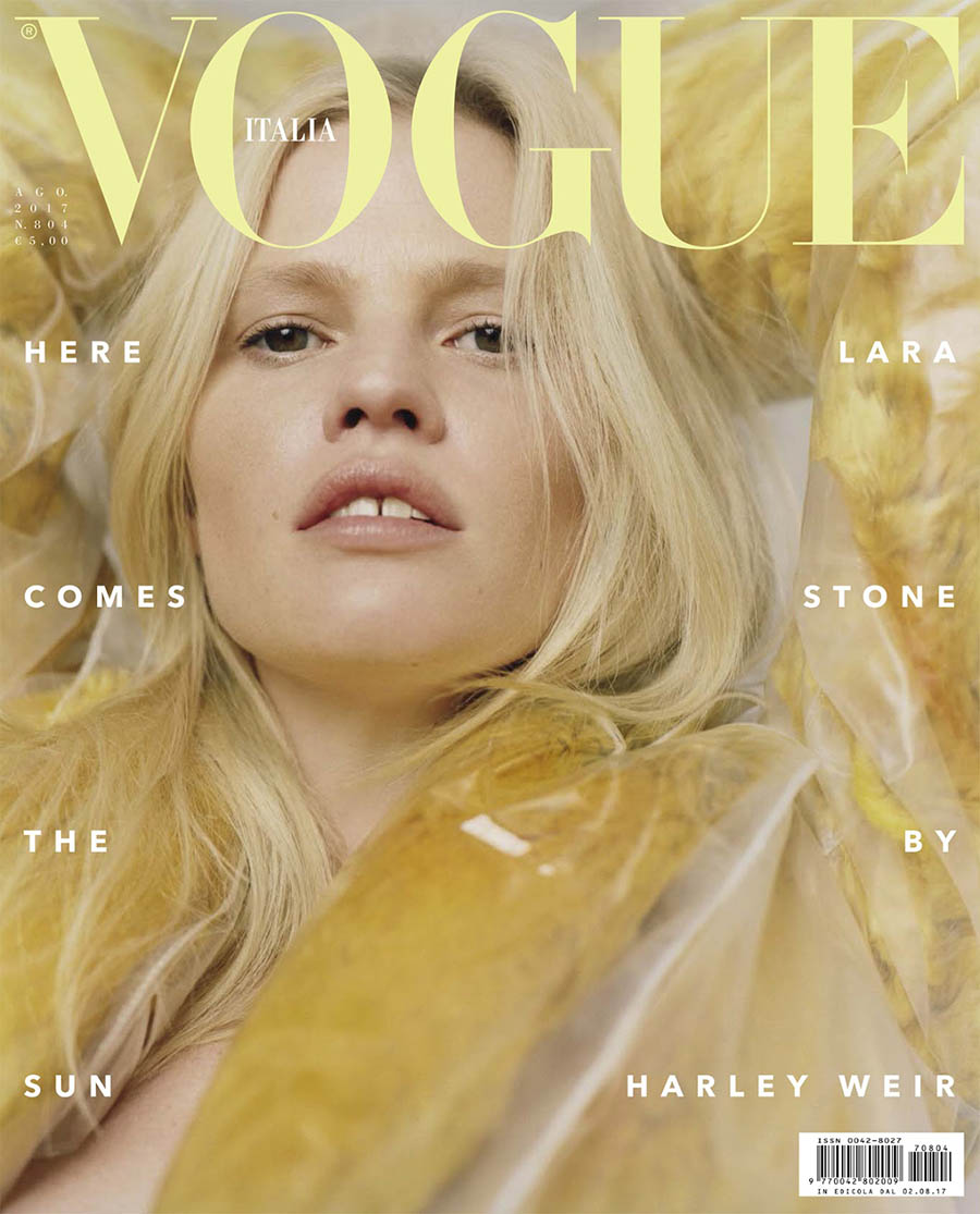 Lara Stone covers Vogue Italia August 2017