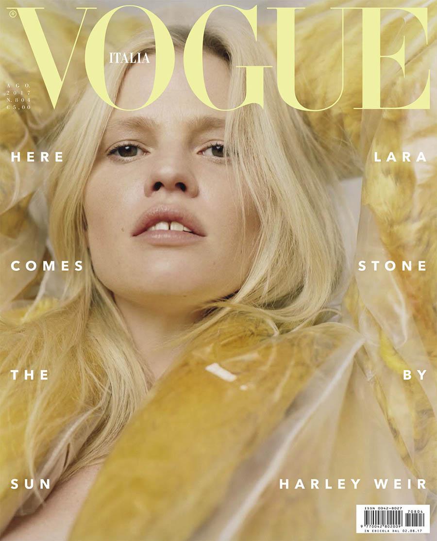 Lara Stone covers Vogue Italia August 2017