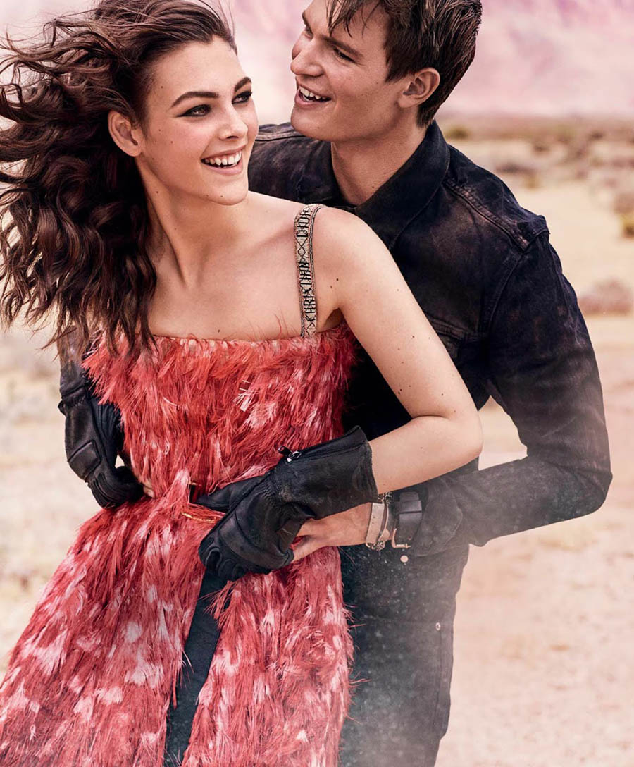 Vittoria Ceretti and Ansel Elgort by Mario Testino for Vogue US's 125th Anniversary Issue