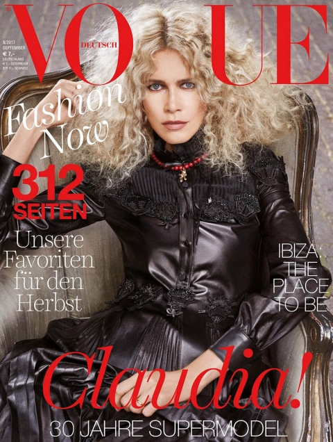 Claudia Schiffer Covers Vogue Germany September 2017 by Giampaolo Sgura