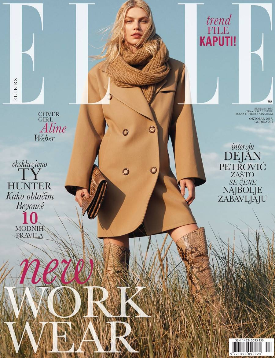 Aline Weber covers Elle Serbia October 2017 by Greg Swales