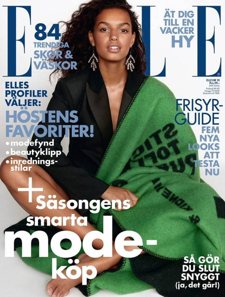 Nikita Wiorek covers Elle Sweden October 2017 by Jimmy Backius