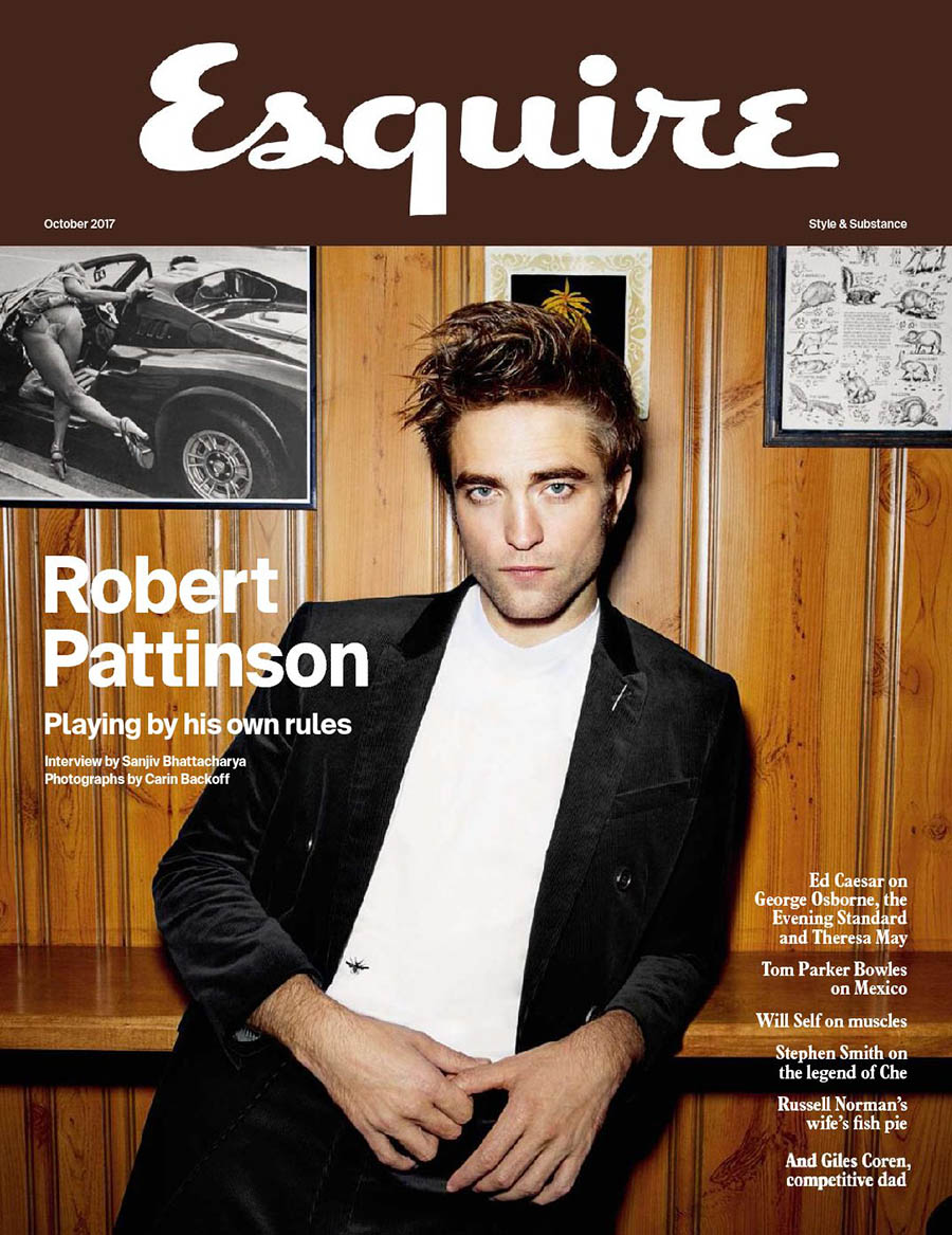 Robert Pattinson covers Esquire UK October 2017 by Carin Backoff