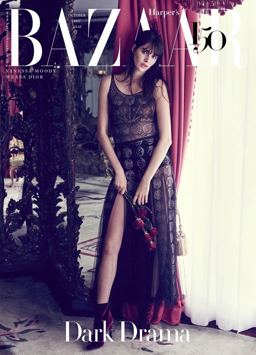 Vanessa Moody covers Harper's Bazaar UK October 2017 by Regan Cameron