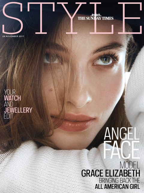Grace Elizabeth covers The Sunday Times Style November 26, 2017 by Rory Van Millingen