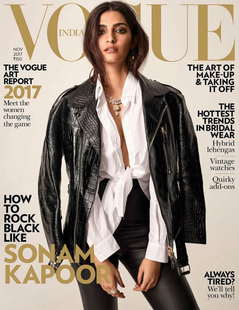 Sonam Kapoor covers Vogue India November 2017 by Greg Swales