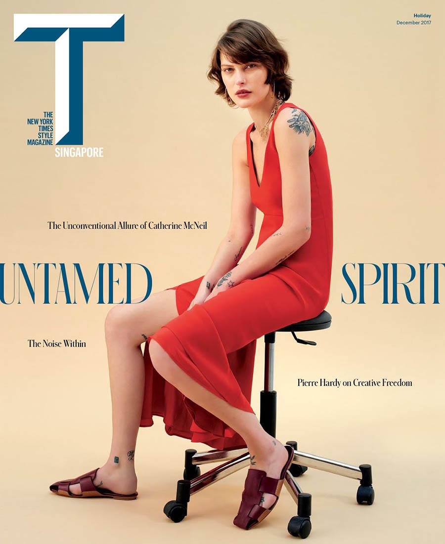 Catherine McNeil covers T Magazine Singapore December 2017 by Carlotta Manaigo