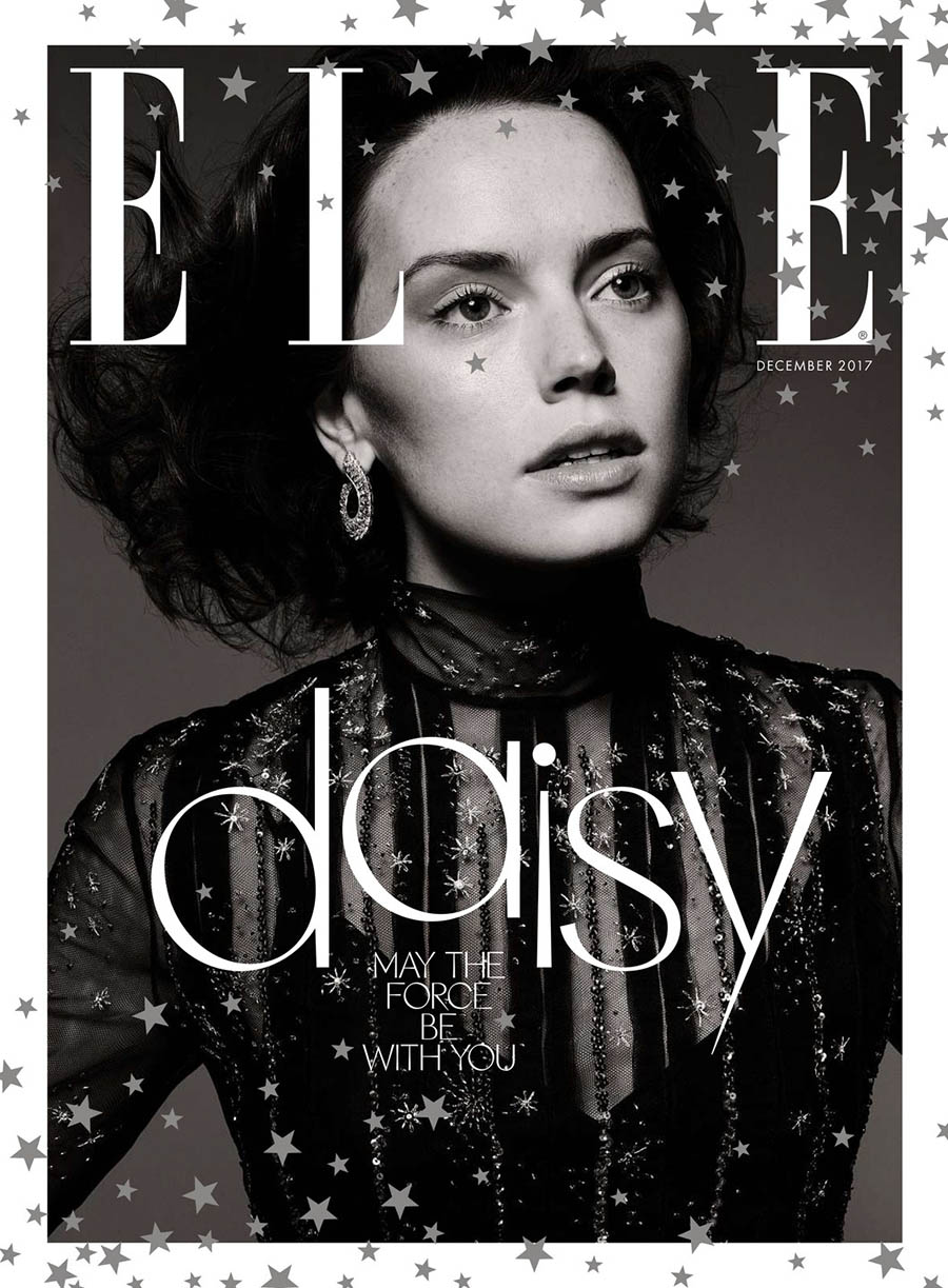 Daisy Ridley covers Elle UK December 2017 by Liz Collins