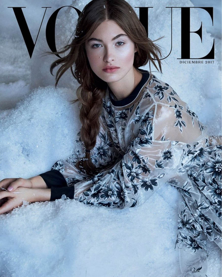 Grace Elizabeth covers Vogue Mexico December 2017 by Patrick Demarchelier