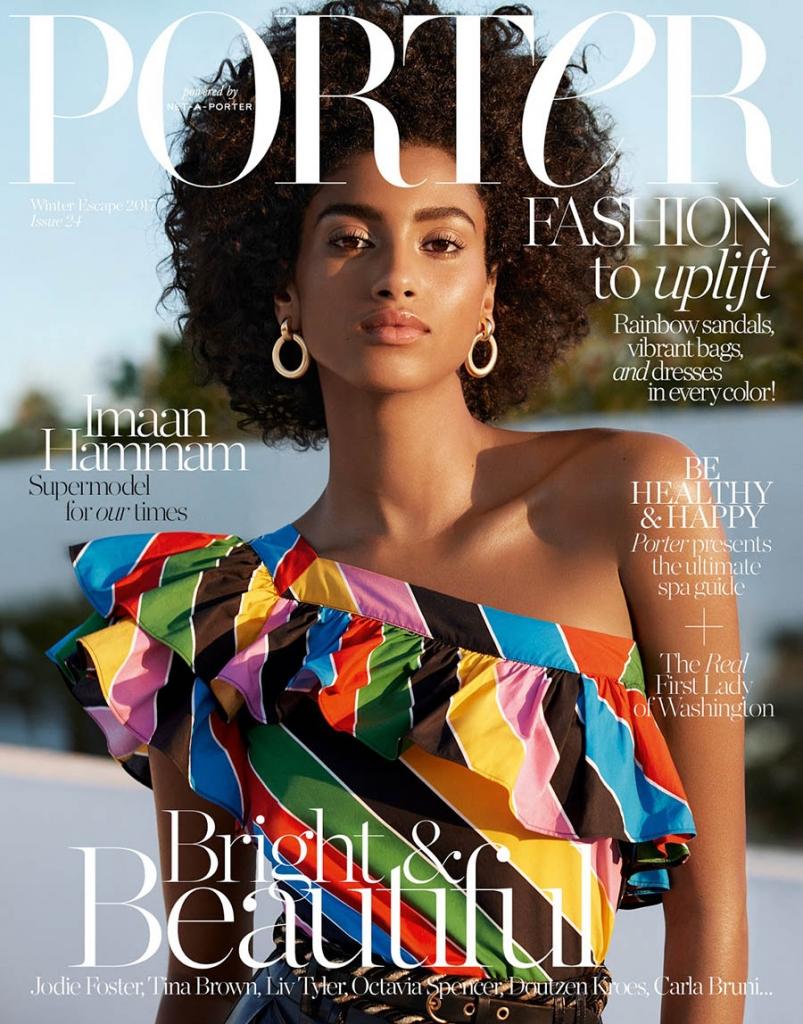 Imaan Hammam covers Porter Magazine Winter Escape 2017 by Camilla Akrans