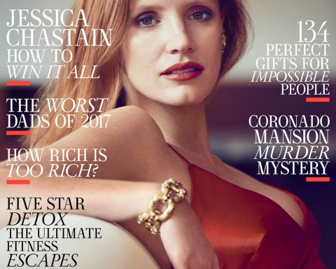 Jessica Chastain covers Town & Country US December 2017 by Matthew Brookes