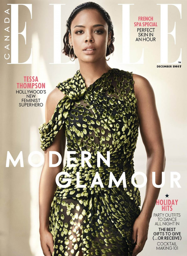 Tessa Thompson covers Elle Canada December 2017 by Nino Munoz