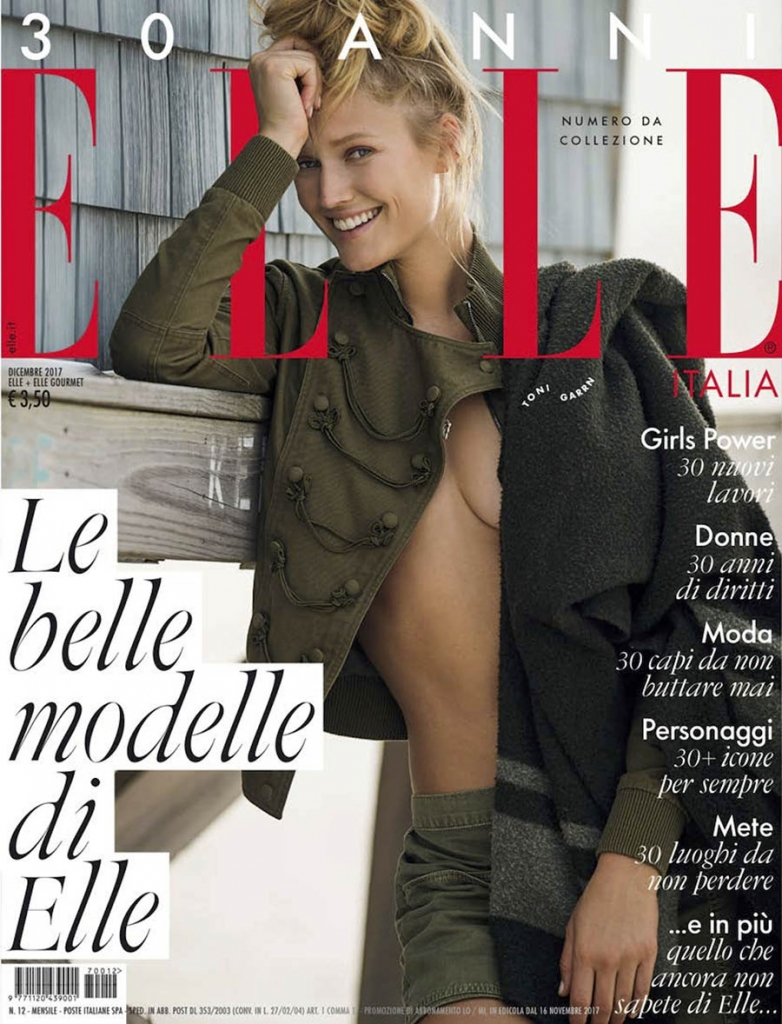 Toni Garrn covers Elle Italia December 2017 by Gilles Bensimon