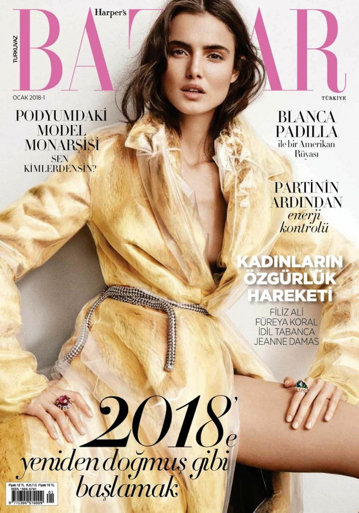 Blanca Padilla covers Harper's Bazaar Turkey January 2018 by Tom Schirmacher
