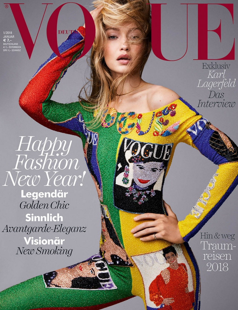 Gigi Hadid covers Vogue Germany January 2018 by Patrick Demarchelier
