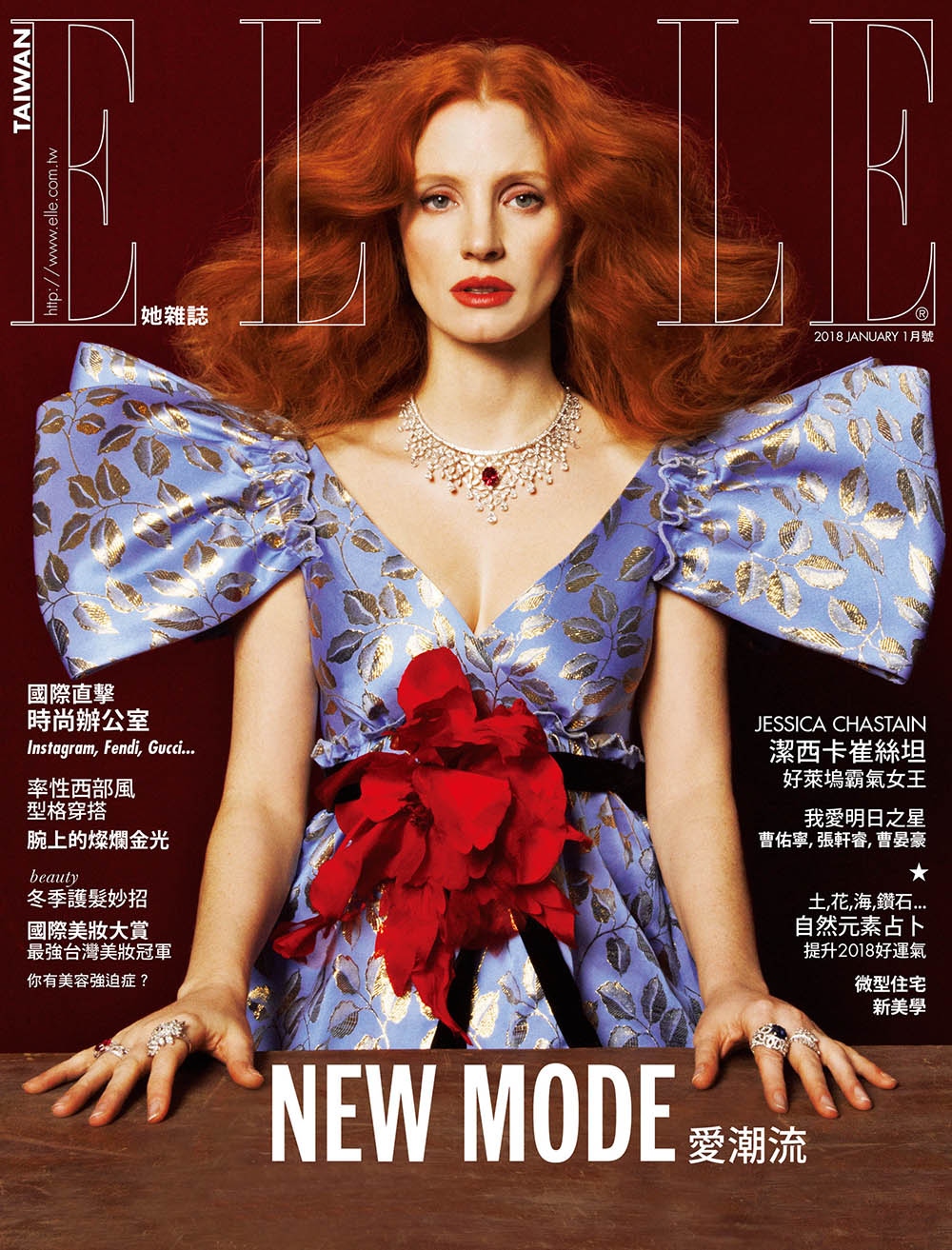 Jessica Chastain covers Elle Taiwan January 2018 by Zhong Lin