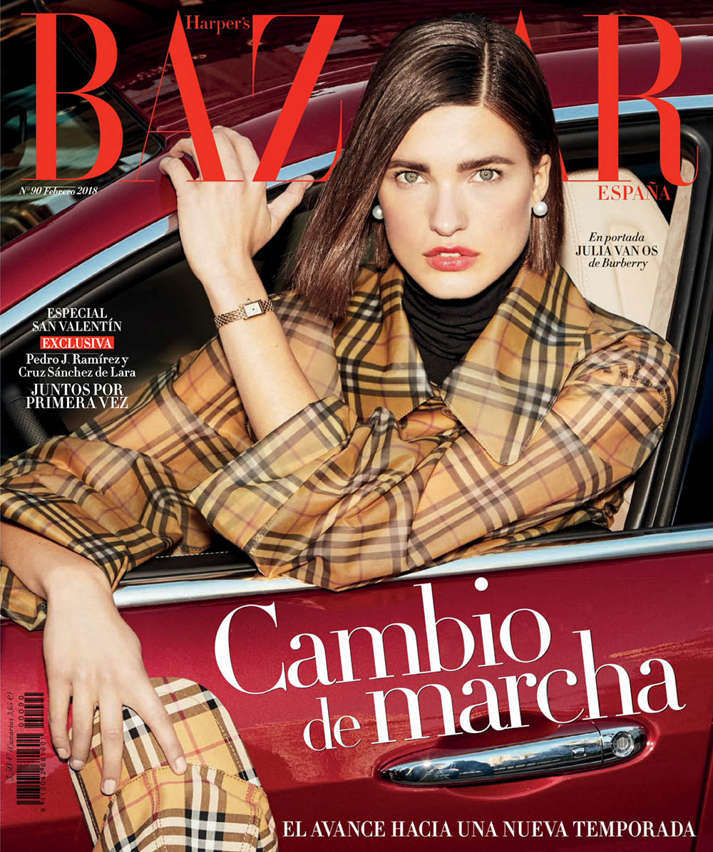 Julia van Os covers Harper's Bazaar Spain February 2018 by Paul Empson