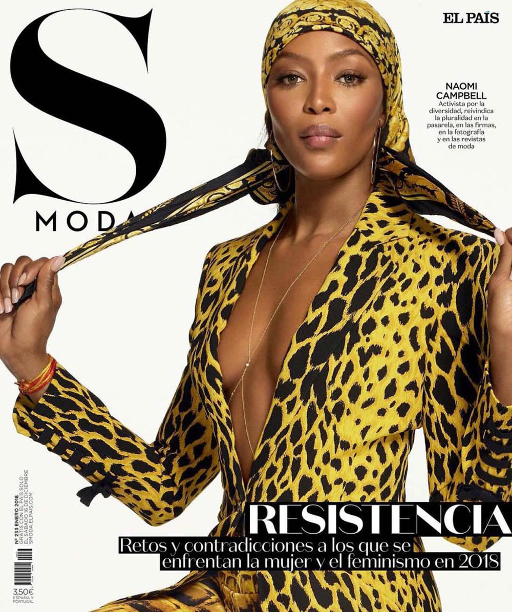 Naomi Campbell covers S Moda January 2018 by Cuneyt Akeroglu