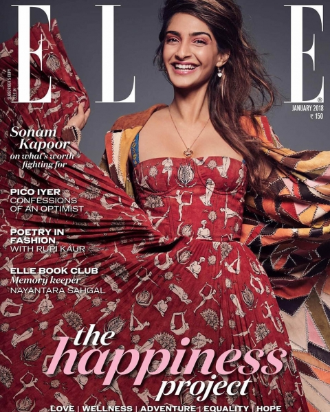 Sonam Kapoor covers Elle India January 2018 by John-Paul Pietrus