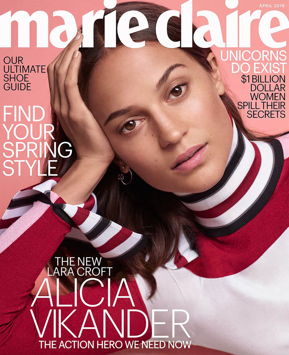 Alicia Vikander covers Marie Claire US April 2018 by Thomas Whiteside