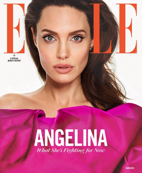 Angelina Jolie covers Elle US March 2018 by Andres Kudacki