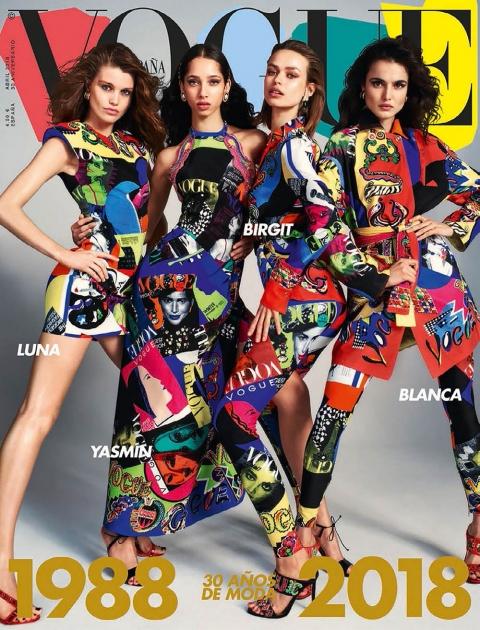 Blanca Padilla, Yasmin Wijnaldum, Birgit Kos and Luna Bijl cover Vogue Spain April 2018 by Emma Summerton