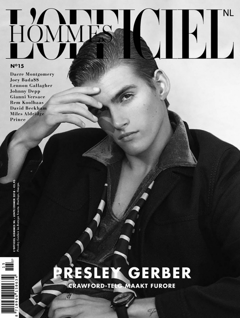 Presley Gerber covers L'Officiel Hommes Netherlands Spring Summer 2018 by Cameron McNee