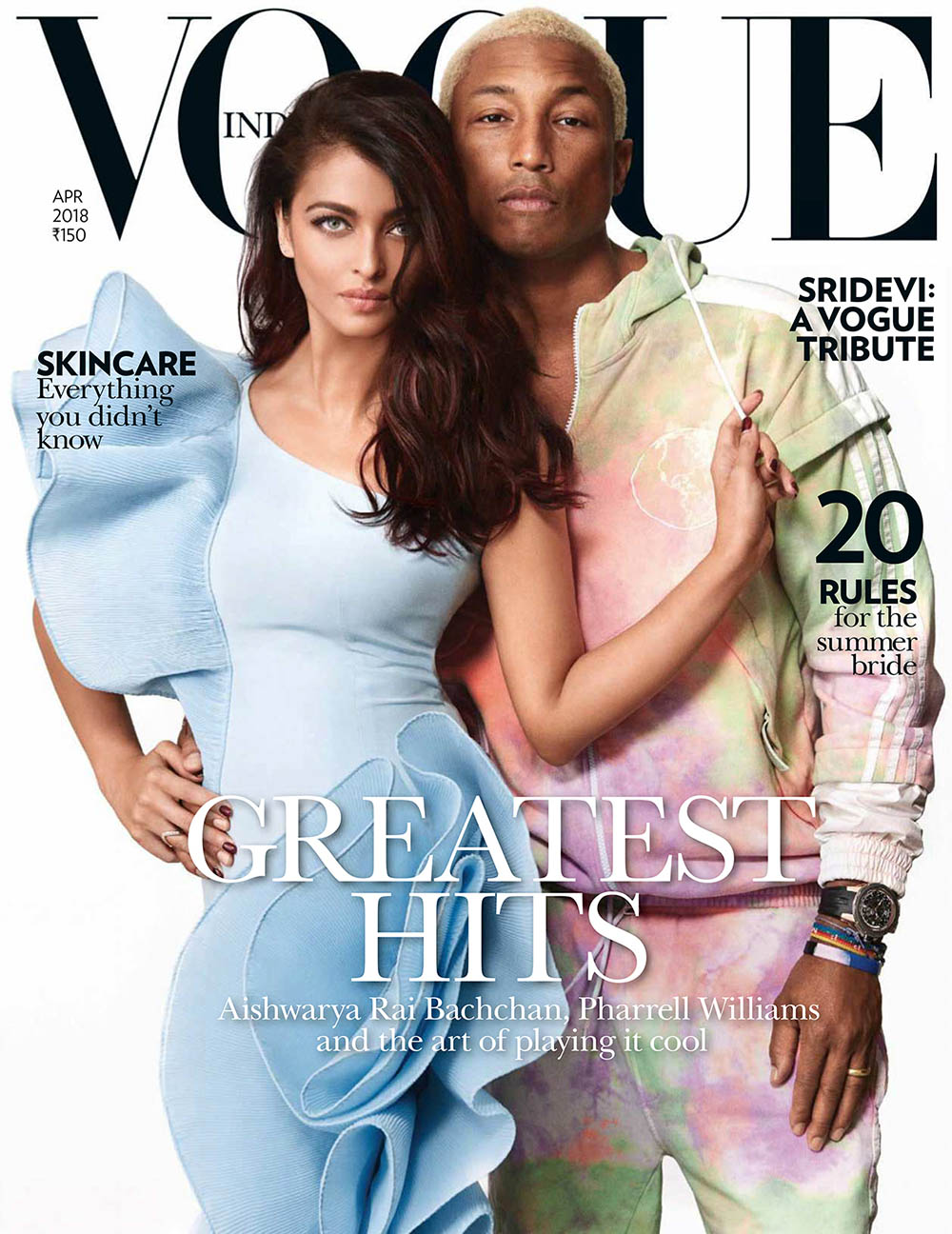 Aishwarya Rai Bachchan and Pharrell Williams cover Vogue India April 2018 by Greg Swales