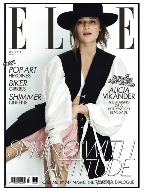 Alicia Vikander covers Elle UK April 2018 by Norman Jean Roy