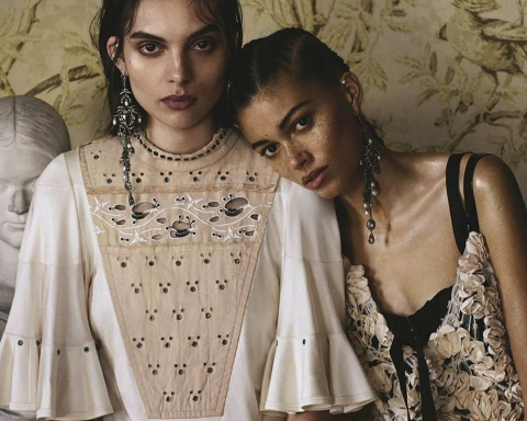 Charlee Fraser and Danielle Lashley by Sebastian Kim for Vogue Australia April 2018