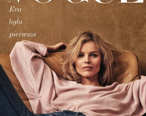 Eva Herzigova covers Vogue Poland April 2018 by Chris Colls