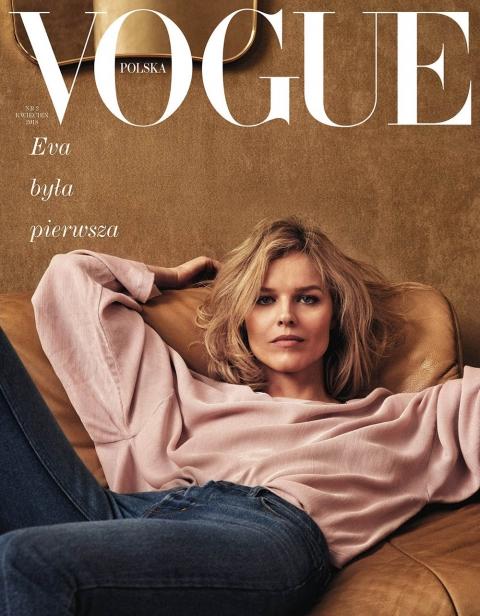 Eva Herzigova covers Vogue Poland April 2018 by Chris Colls