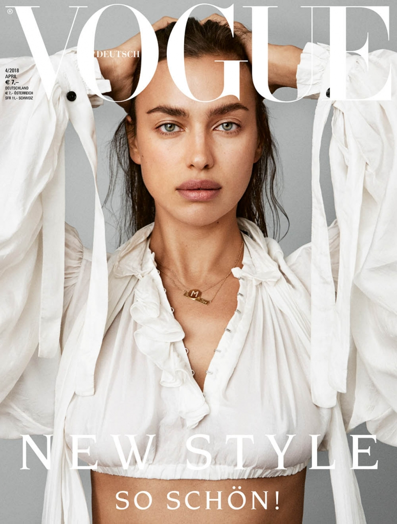 Irina Shayk covers Vogue Germany April 2018 by Daniel Jackson