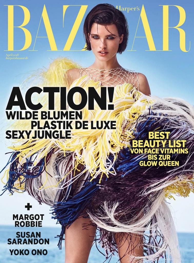 Julia van Os covers Harper's Bazaar Germany April 2018 by Marcin Tyszka