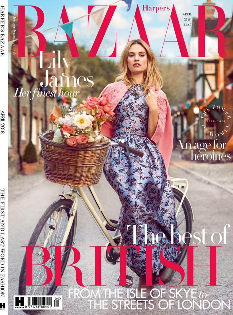 Lily James covers Harper's Bazaar UK April 2018 by Richard Phibbs