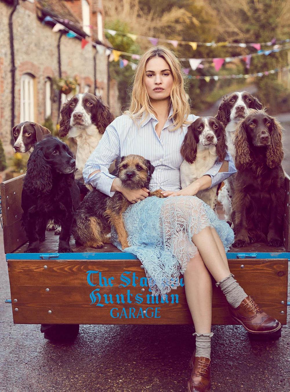 Lily James covers Harper's Bazaar UK April 2018 by Richard Phibbs