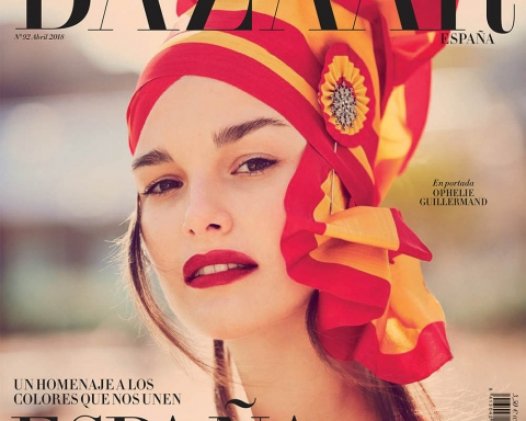 Ophelie Guillermand covers Harper's Bazaar Spain April 2018 by Guy Aroch