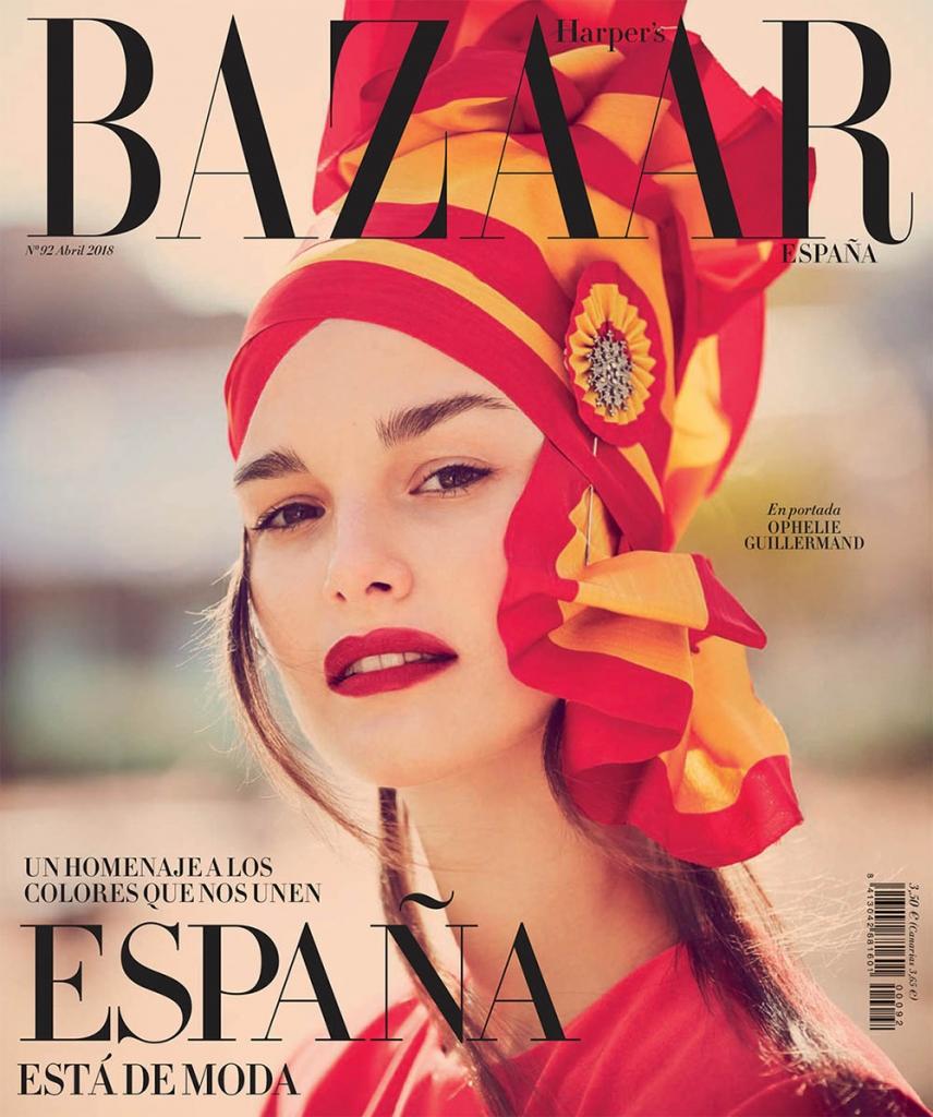 Ophelie Guillermand covers Harper's Bazaar Spain April 2018 by Guy Aroch