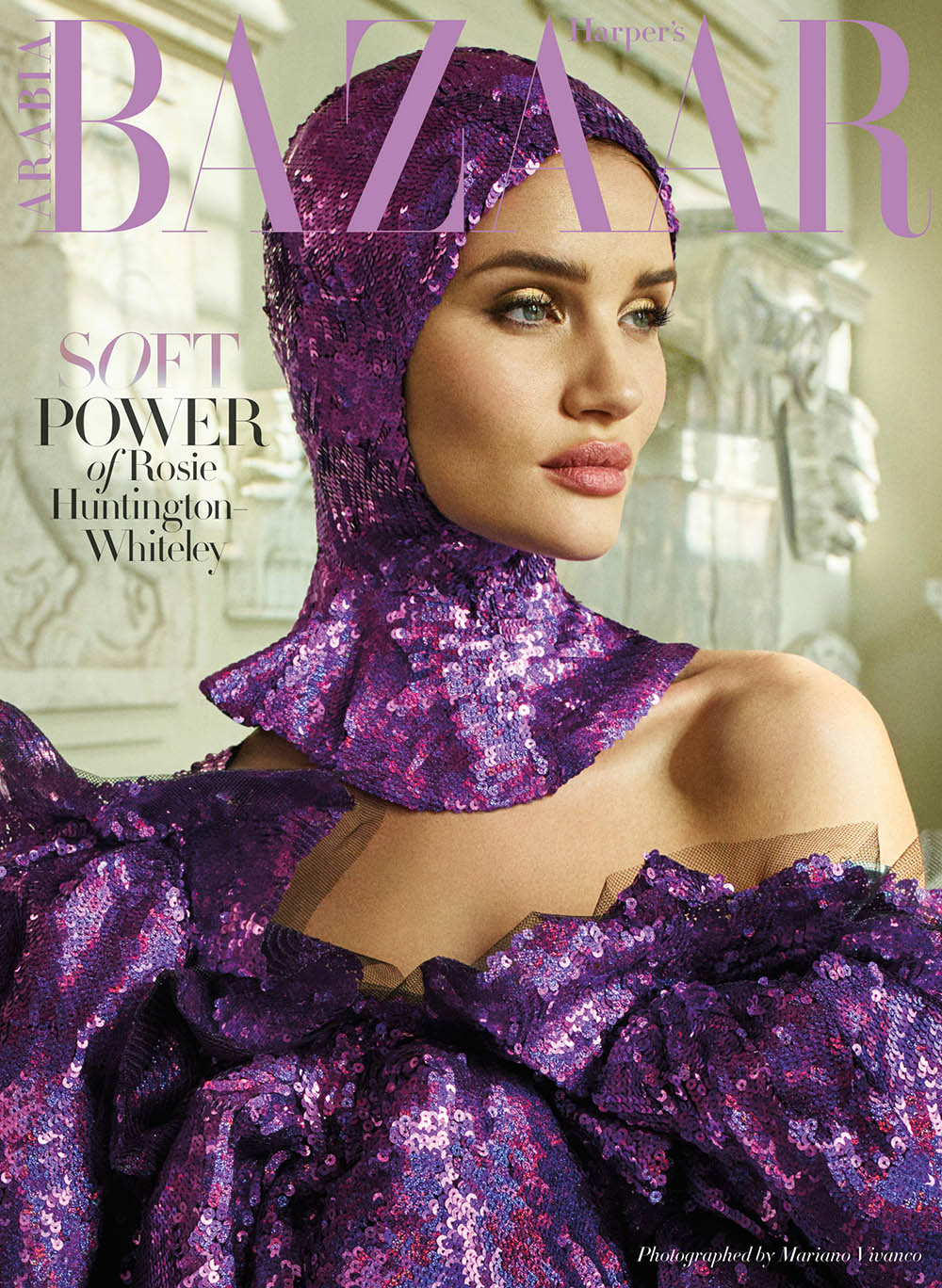 Rosie Huntington-Whiteley covers Harper's Bazaar Arabia April 2018 by Mariano Vivanco