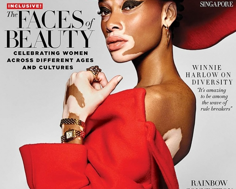 Winnie Harlow covers Harper's Bazaar Singapore May 2018 by Yu Tsai