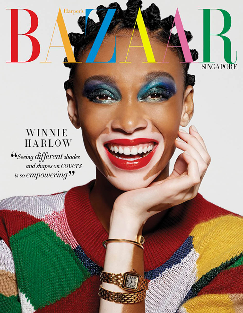 Winnie Harlow covers Harper's Bazaar Singapore May 2018 by Yu Tsai