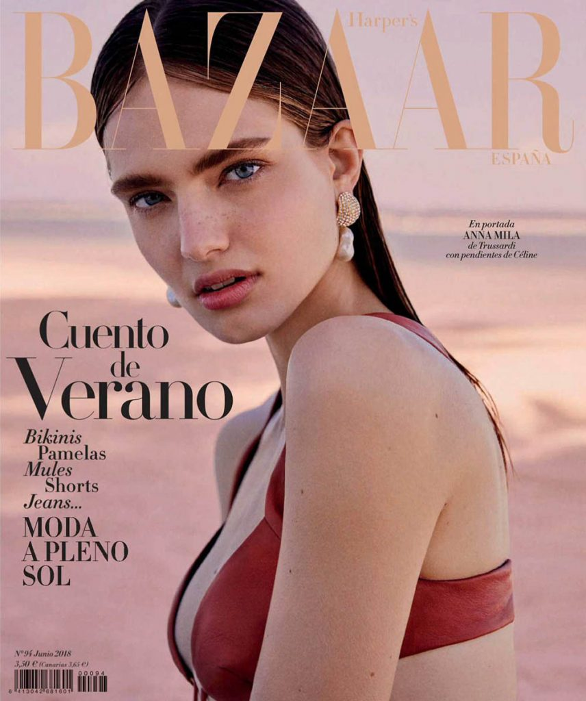 Anna Mila Guyenz covers Harper's Bazaar Spain June 2018 by Rosa Copado