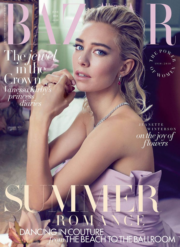 Vanessa Kirby covers Harper's Bazaar UK June 2018 by Alexi Lubomirski
