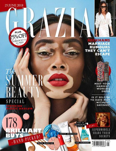 Winnie Harlow covers Grazia UK June 25th, 2018 by Jason Hetherington