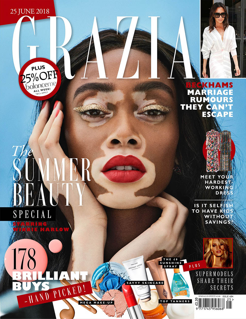 Winnie Harlow covers Grazia UK June 25th, 2018 by Jason Hetherington