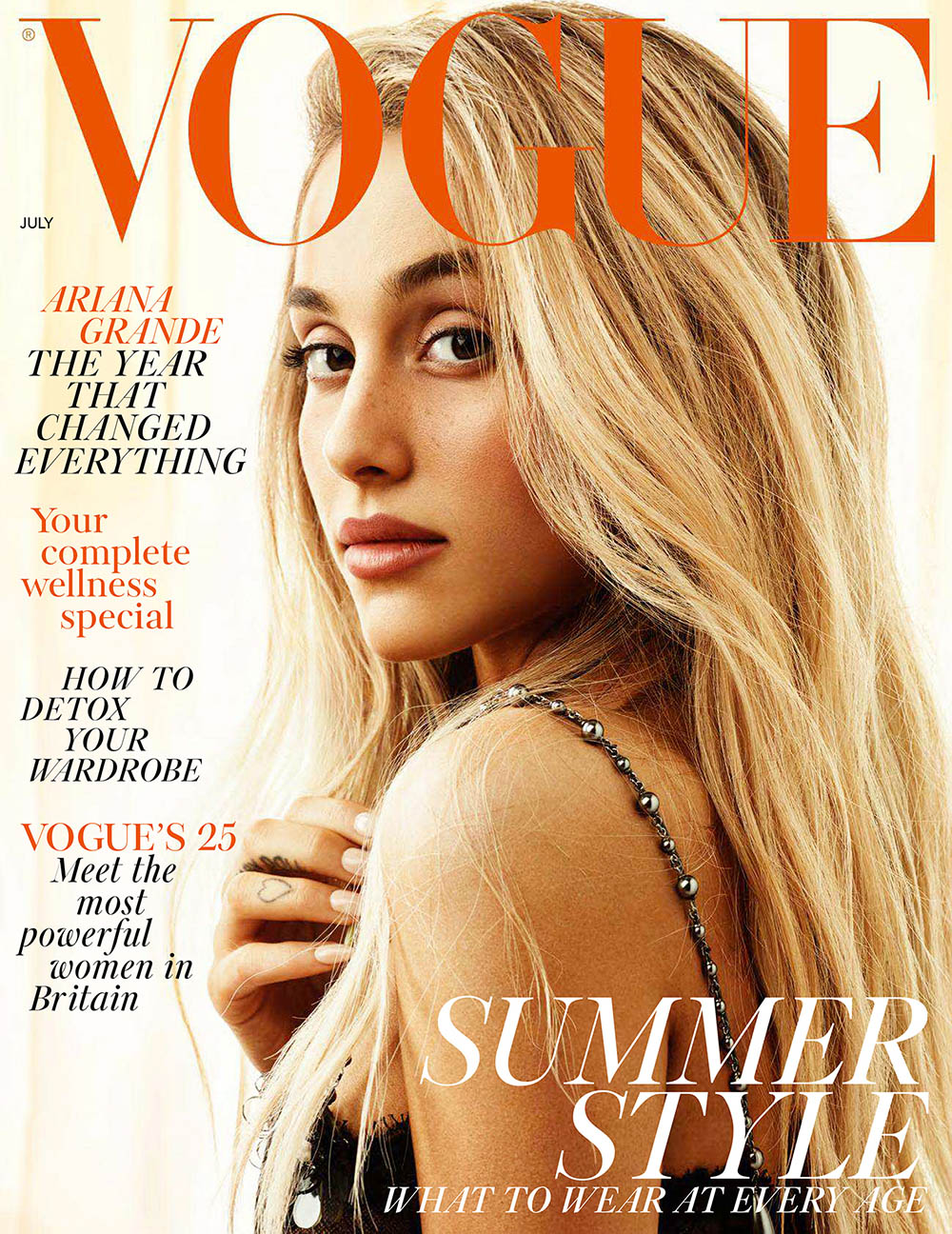 Ariana Grande covers British Vogue July 2018 by Craig McDean