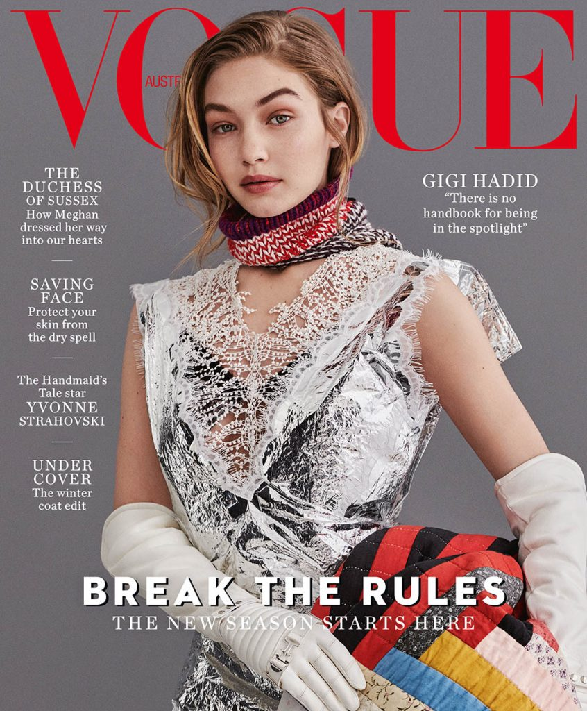 Gigi Hadid covers Vogue Australia July 2018 by Giampaolo Sgura