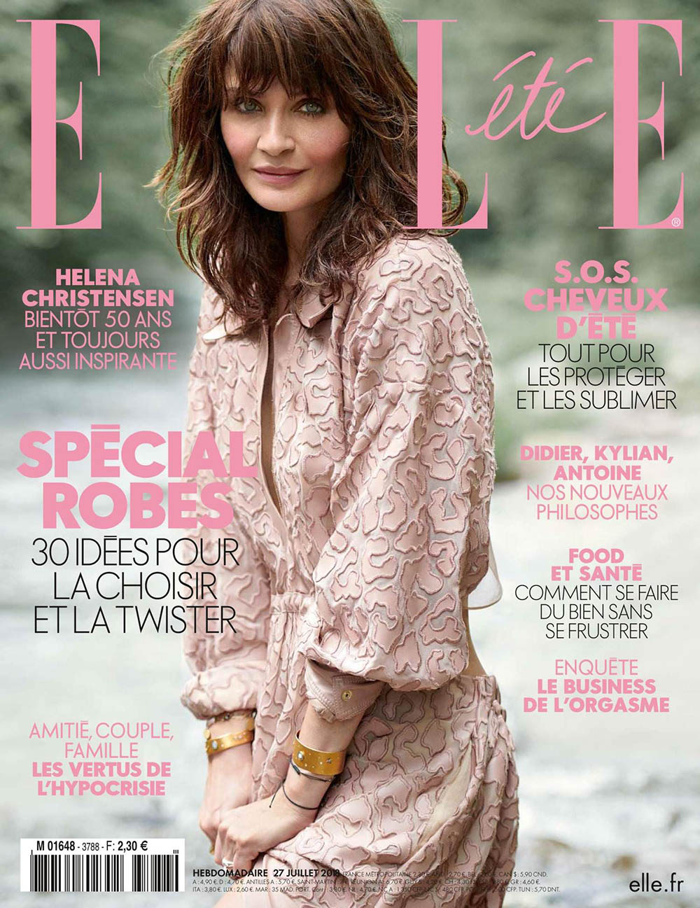Helena Christensen covers Elle France July 27th, 2018 by Blair Getz Mezibov