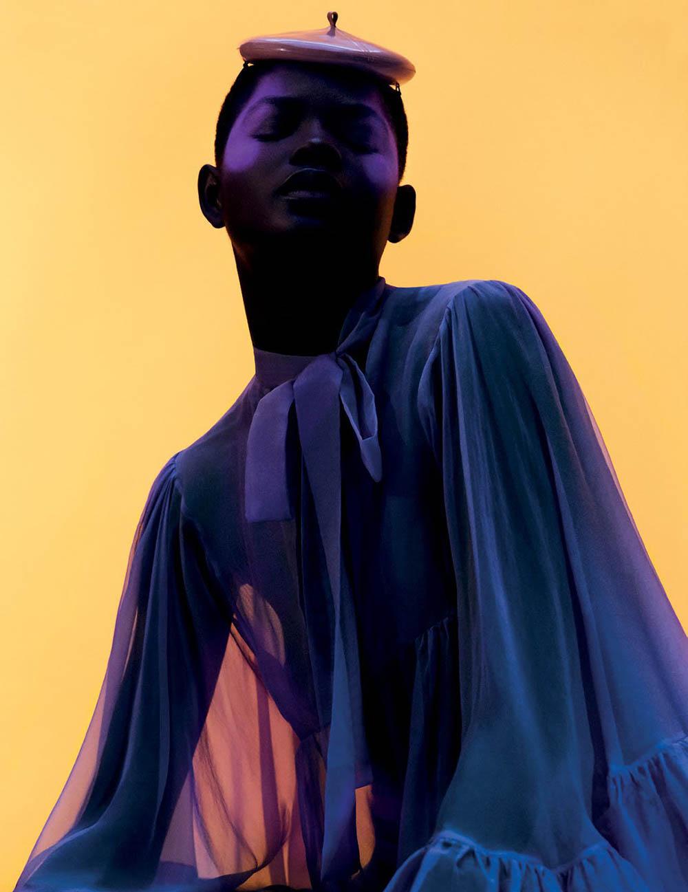Mouna Fadiga by Dan Beleiu for Vogue Arabia July 2018