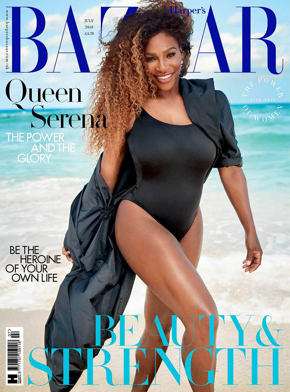 Serena Williams covers Harper's Bazaar UK July 2018 by Richard Phibbs